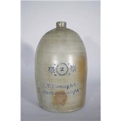 A 2 Gallon Stoneware Jug with Cobalt Stencil Decoration,