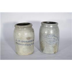 Two Stoneware Crocks with Cobalt Glaze Stencil Decoration,