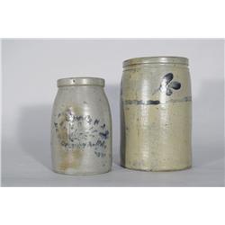 Two Stoneware Crocks with Cobalt Glaze Decoration,