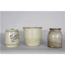 Three Stoneware Crocks, One with Cobalt Glaze Decoration,