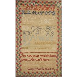 An Embroidered Sampler with Alphabet and Poem,