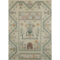 An Embroidered Sampler, dated 1962, with Alphabet, House and Family Scene,