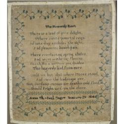 """An Embroidered and Beaded Sampler, dated 1844, """"The Heavenly Rest"""" poem,"""