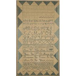 An Embroidered Linen Sampler, dated 1811, by Anne W. Wells,
