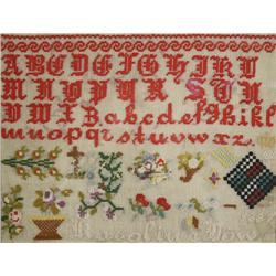 An Embroidered Sampler, dated 1887, by Karoline Dow,