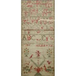 An Embroidered Sampler, with Alphabet, Birds and Flowers, by Jane Boyle,