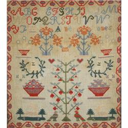 An Embroidered Sampler, with Alphabet, Animals, and Trees, by Anne Jones,