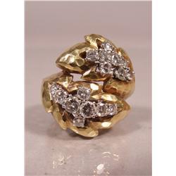 An David Webb Ring Ladies 18 kt Yellow and White Gold, Diamond Melee Ring,