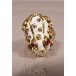 A David Webb White Enamel and Ruby Frog Ring,