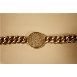 A Hollow Silver Prussian Coin Bracelet,