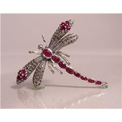 A Sterling Silver, Ruby and Marcasite Dragonfly Brooch,