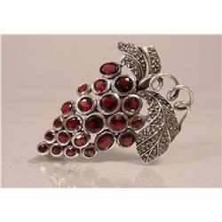 A Sterling Silver, Garnet and Marcasite Grape and Vine Brooch,
