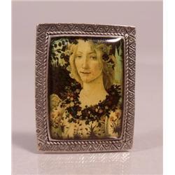 "A Sterling Silver Portrait Brooch Depicting Venus from Botticelli's ""Birth of Venus"","