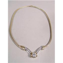 A Ladies 14 kt Yellow and White Gold, Diamond Necklace,