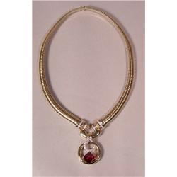 A 14 kt Yellow Gold, Diamond and Garnet Necklace,