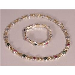 A Sterling Silver, Gold Vermeil, Pink and Green Tourmaline Necklace with matching Bracelet,