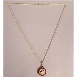 A Sterling Silver, Gold Vermeil and Garnet Angel Cherub Pendant Necklace,