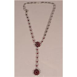 A Sterling Silver Garnet and Marcasite Necklace,