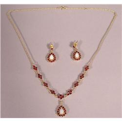 A Sterling Silver, Gold Vermeil , Garnet and Opal Necklace with Matching Drop Earrings,