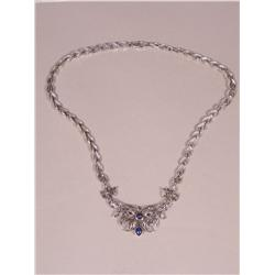 A Sterling Silver Lapis Lazuli and Marcasite Necklace,