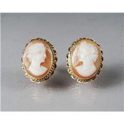 A Pair of 14 kt Yellow Gold and Carved Shell Cameo Earrings.