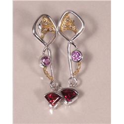 A Pair of Sterling Silver, Gold Vermeil, Amethyst and Garnet Earrings,