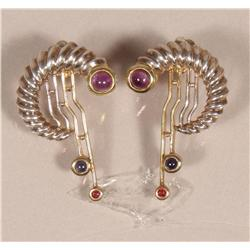 A Pair of Sterling Silver, Gold Vermeil, Amethyst, Sapphire and Rhodolite Garnet Earrings,