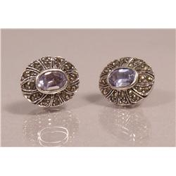 A Pair of Sterling Silver, Blue Topaz and Marcasite Earrings,