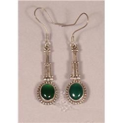 A Pair of Sterling Silver and Chrysophase Drop Earrings,
