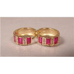 A Pair of 14 kt Yellow Gold, Red Spinel and Zircon Mini Huggie Earrings,