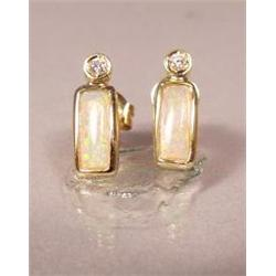 A Pair of 14 kt Yellow Gold, Opal and Diamond Earrings,