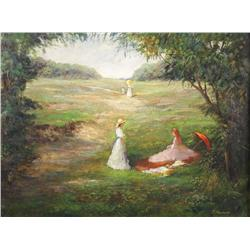 P. Fournier (20th Century) Park Scene with Figures, Oil on Board,