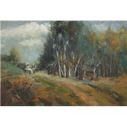 Torian (20th Century) Landscape, Oil on Canvas,