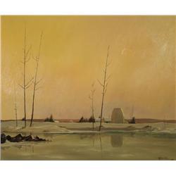 Ivan Trevor Wheale (b.1934, Canadian) Azilda Farm, 1963, Oil on Artist Board,
