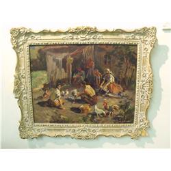 Helen de Silaghi (b. 1920, Canadian) Village Scene, Oil on Board,