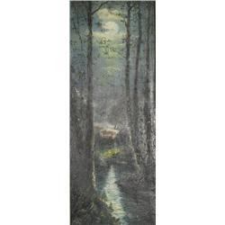 Artist Unknown (20th Century) Evening Scene, Oil on Canvas,
