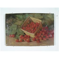 Josephine E. Bradstreet (1859-1920) Strawberries, Oil on Canvas,