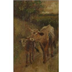 Artist Unknown (19th Century) Cow and Calf, Oil on Board,