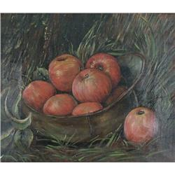 Artist Unknown (19th Century) Still Life with Apples, Oil on Canvas.