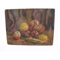 Irving R. Isaacs (20th Century) Still Life with Fruit, Oil on Board.