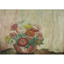 Artist Unknown (20th Century) Still Life with Flowers, Oil on Canvas,