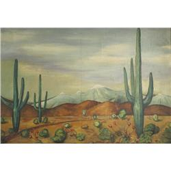 John McKeet (20th Century) The Desert, Oil on Board,