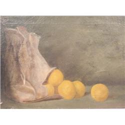 Artist Unknown (20th Century) Still Life with Oranges, Oil on Canvas,