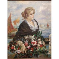 E. Julyana (20th Century) Woman with Flowers, Oil on Canvas,
