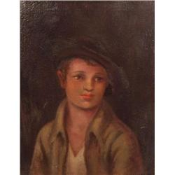 Louise B. Maloney (20th Century, American) Portrait of a Boy, Oil on Canvas,