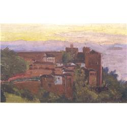 Artist Unknown (20th Century) Landscape with Village, Oil on Board,