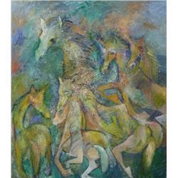 Clara Israel (20th Century) Fantasia III, Oil on Canvas.