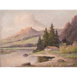 Chas Fedor (20th Century) Mountain Landscape with Lake, Oil on Board,
