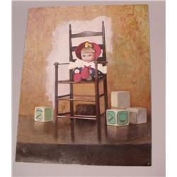 Artist Unknown (20th Century) Doll Seated in Chair, Oil on Board.