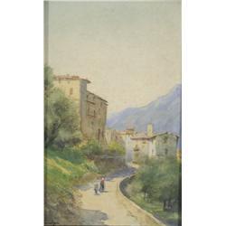 Artist Unknown (19th Century) Village Scene, Watercolor on Paper,